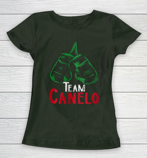 Cool Mexican Flag Boxing Themed Team Canelo Cinnamon Alvarez Women's T-Shirt 4