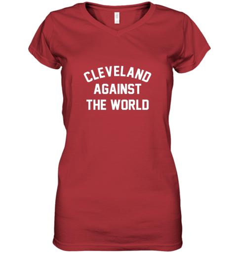 nxxk cleveland against the world football baseball basketball women v neck t shirt 39 front red