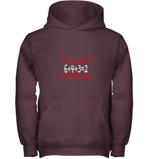 txbo funny baseball 6432 double play shirt i gift 6 4 32 math youth hoodie 43 front maroon
