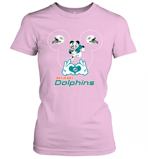 k7dy i love the dolphins mickey mouse miami dolphins ladies t shirt 20 front light pink
