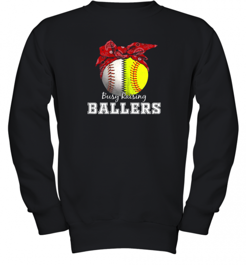 Busy Raising Ballers Softball Baseball Shirt Baseball Mom Youth Sweatshirt