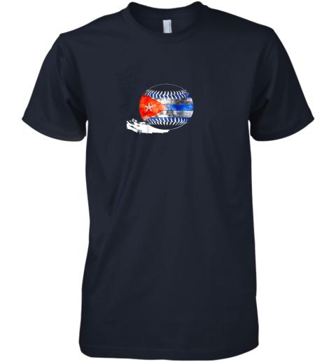 pqup vintage baseball cuba flag shirt cuban pride premium guys tee 5 front midnight navy