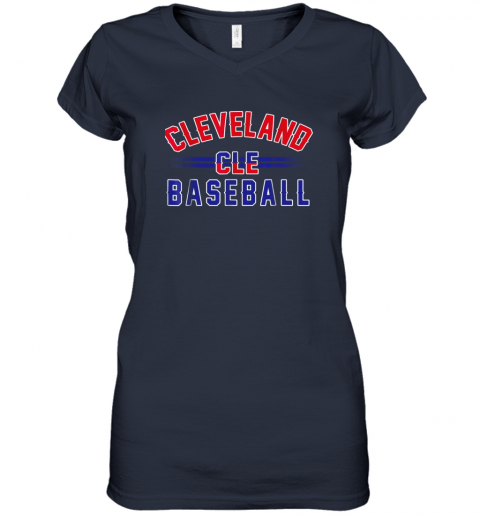 cqj8 cleveland cle baseball women v neck t shirt 39 front navy