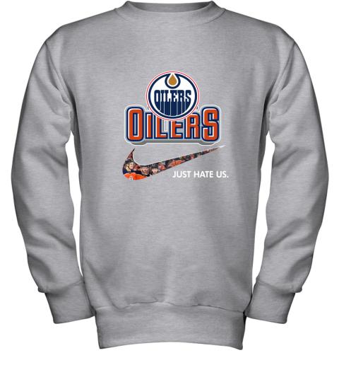 NHL Team Edmonton Oilers x Nike Just Hate Us Hockey Youth Sweatshirt