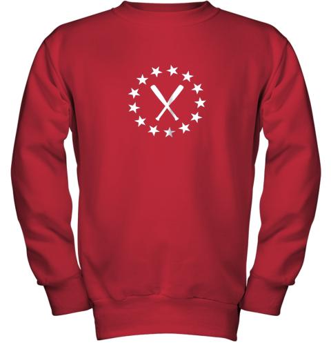 ecxv baseball with bats shirt baseballin player gear gifts youth sweatshirt 47 front red