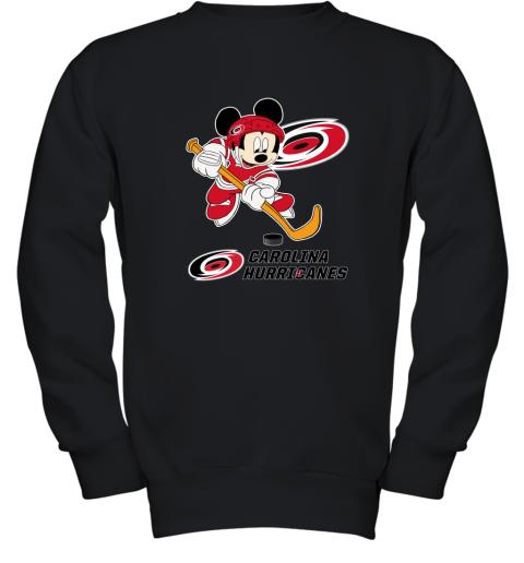 oyib nhl hockey mickey mouse team carolia hurricanes youth sweatshirt 47 front black