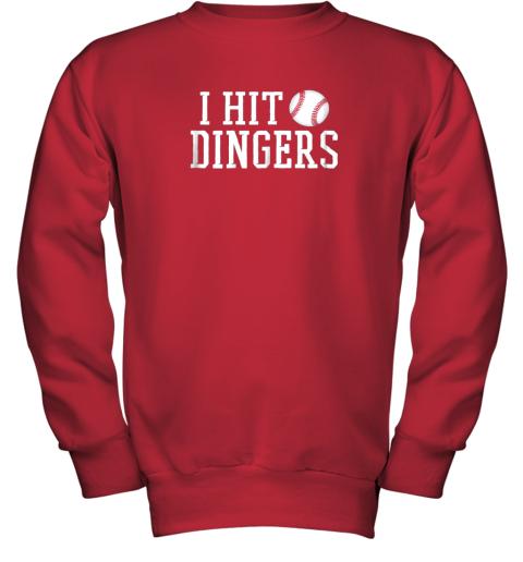 rwc2 i hit dingers shirt for sluggersfunny baseball youth sweatshirt 47 front red