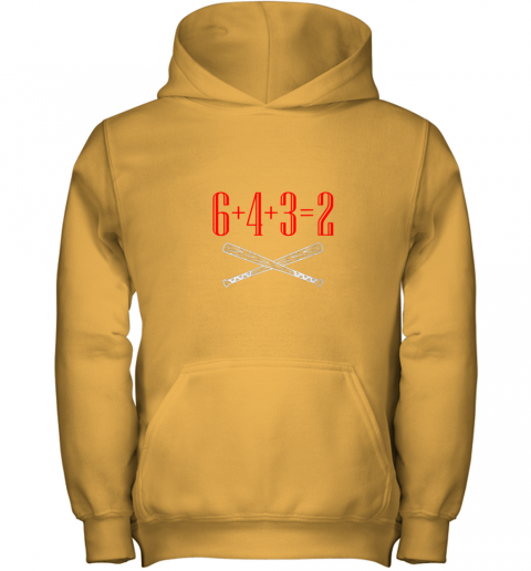 h5xm funny baseball math 6 plus 4 plus 3 equals 2 double play youth hoodie 43 front gold