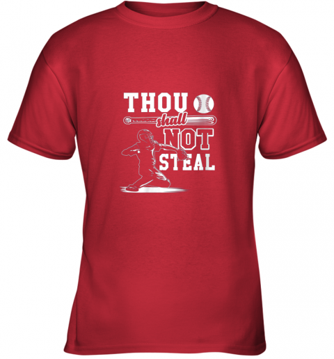 zlsz funny baseball thou shall not steal baseball player youth t shirt 26 front red