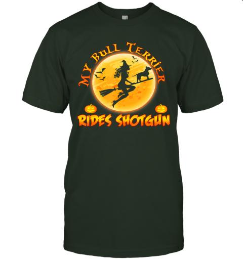 My Bull Terrier Dog Rides Shotgun Halloween Costumes Dogs T-Shirt
