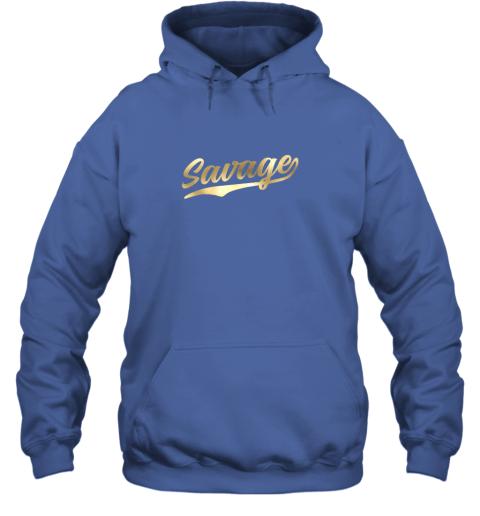 zkkx savage shirt retro 1970s baseball script font hoodie 23 front royal