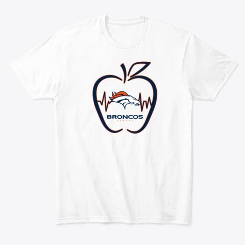 Apple Heartbeat Teacher Symbol Denver Broncos T-Shirt