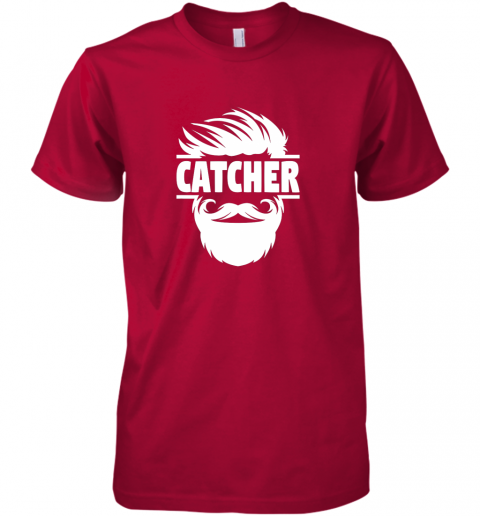 a5xz bearded baseball catcher premium guys tee 5 front red