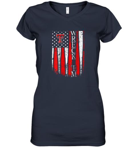 sqwq texas tech red raiders baseball flag team name women v neck t shirt 39 front navy