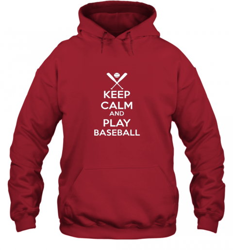 jsta keep calm and play baseball hoodie 23 front red