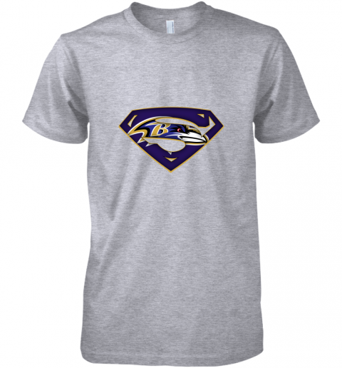 9vkp we are undefeatable the baltimore ravens x superman nfl premium guys tee 5 front heather grey