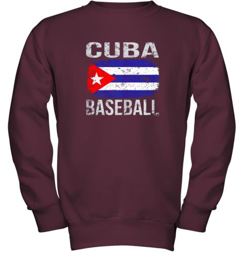 lmr4 cuba baseball cuban flag youth sweatshirt 47 front maroon