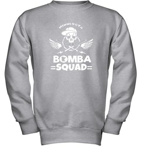 6098 bomba squad twins shirt minnesota baseball men bomba squad youth sweatshirt 47 front sport grey