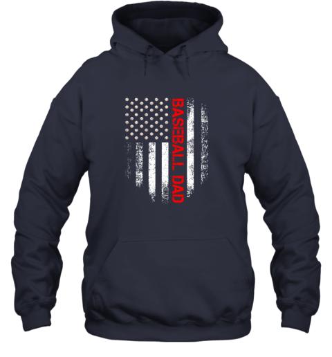 lj8q vintage usa american flag proud baseball dad player hoodie 23 front navy