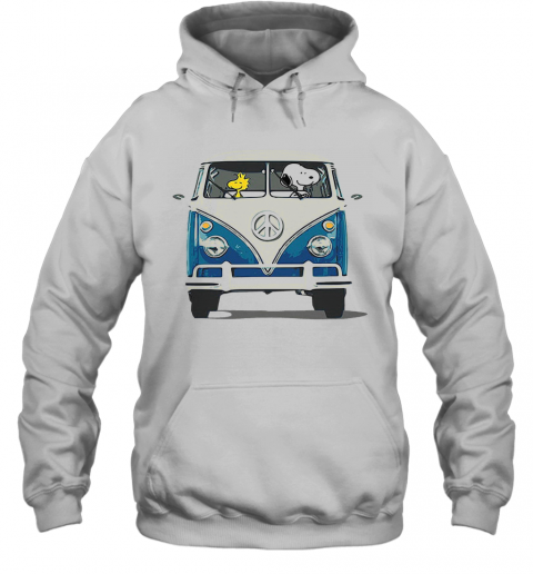 Snoopy And Woodstock Driving Peace Bus Hoodie