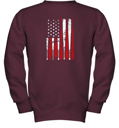 8tgx vintage baseball bat american usa flag gift youth sweatshirt 47 front maroon