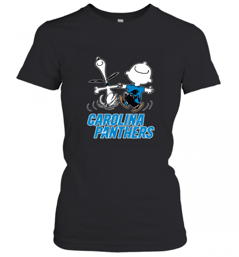 Snoopy And Charlie Brown Happy Carolina Panthers Women's T-Shirt