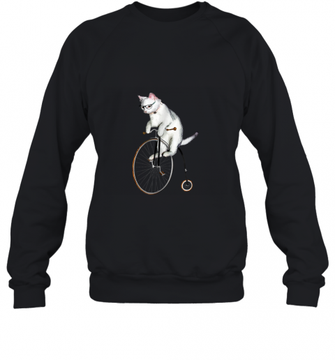 Atticus the Hipster Cat on a Bike t-shirt Penny Farthing! Sweatshirt