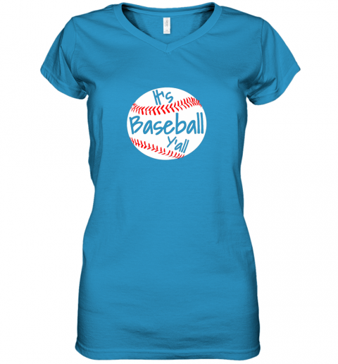 tzlp it39 s baseball y39 all shirt funny pitcher catcher mom dad gift women v neck t shirt 39 front sapphire