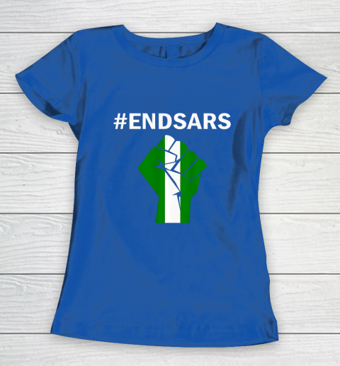 EndSARS End SARS Nigeria Flag Colors Strong Fist Protest Women's T-Shirt 8