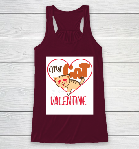 Cute My Cat Is My Valentine Cat Lover Valentines Day Gift Racerback Tank 2
