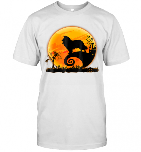 Rough Collie Dog And Moon Funny Halloween Gift T-Shirt