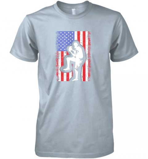 wiud vintage usa american flag baseball player team gift premium guys tee 5 front light blue