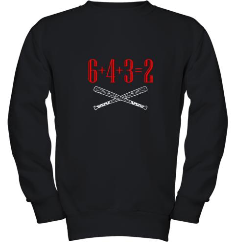 Funny Baseball Math 6 plus 4 plus 3 equals 2 Double Play Youth Sweatshirt