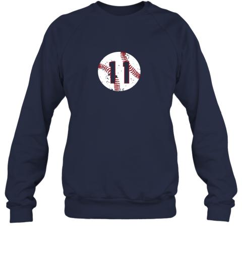 dd73 vintage baseball number 11 shirt cool softball mom gift sweatshirt 35 front navy