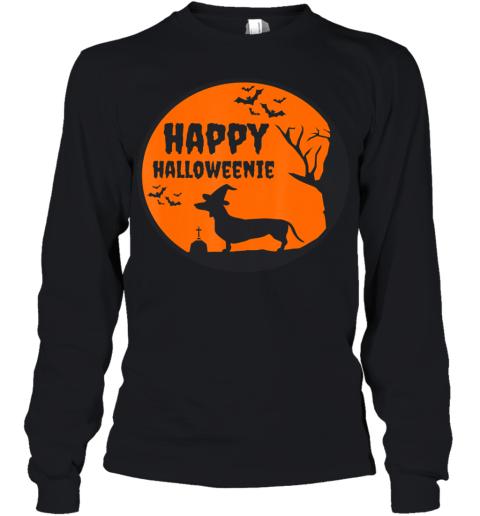 Happy Halloweenie, Halloween Dachshund Dog Shirt Gift Youth Long Sleeve