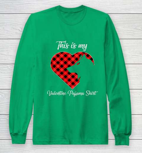 This Is My Valentine Pajama Shirt Wolf Valentines Day Long Sleeve T-Shirt 4