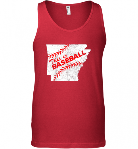 13k1 this is baseball arkansas with red laces unisex tank 17 front red