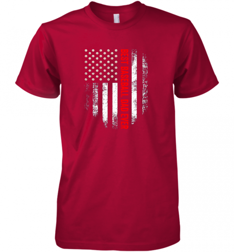 d4b4 vintage usa best baseball dad ever american flag daddy gift premium guys tee 5 front red