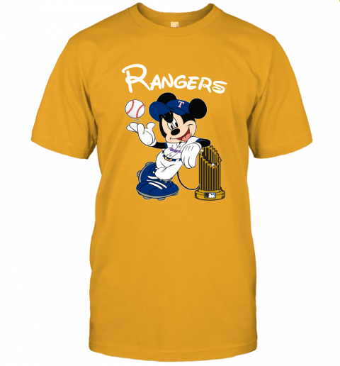 Texas Rangers Mickey Taking The Trophy MLB 2018 Unisex Jersey Tee