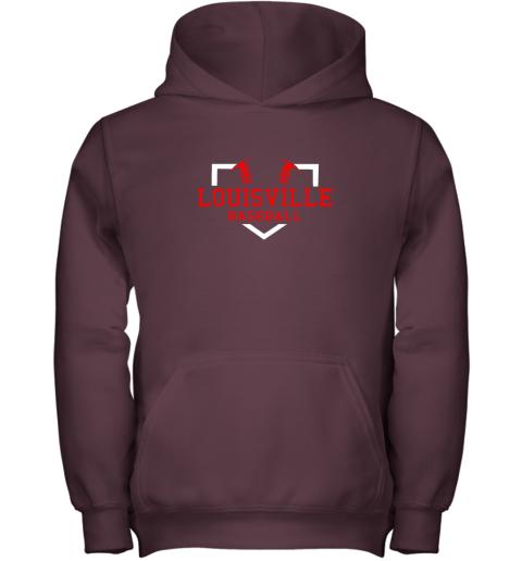 39r5 vintage louisville baseball kentucky gift youth hoodie 43 front maroon