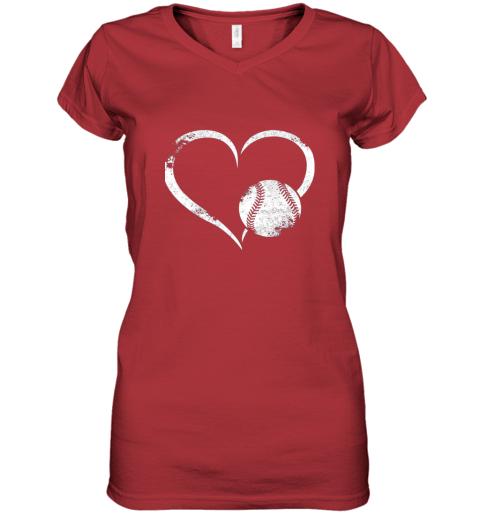 x7oe i love baseballl funny baseball lover heartbeat women v neck t shirt 39 front red
