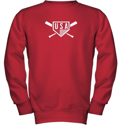 spvc vintage american baseball and softball usa flag youth sweatshirt 47 front red