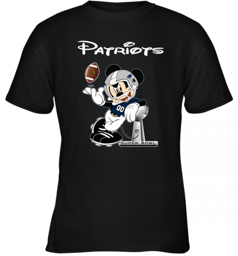 Mickey Patriots Taking The Super Bowl Trophy Football Youth T-Shirt