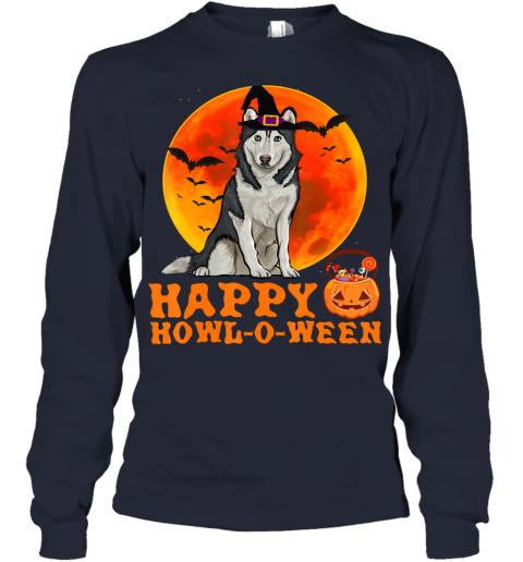 Funny Siberian Husky Dog Halloween Happy Howl-o-ween Youth Long Sleeve