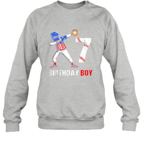 vmve kids 7 years old 7th birthday baseball dabbing shirt gift party sweatshirt 35 front sport grey
