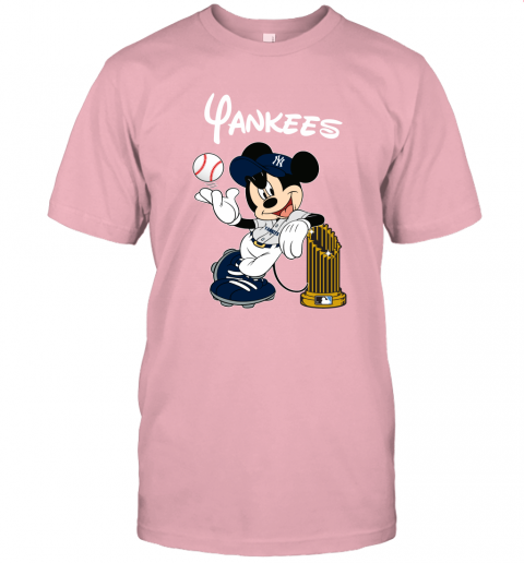 kmlj new york yankees mickey taking the trophy mlb 2019 jersey t shirt 60 front pink