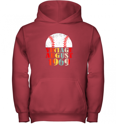 kvq0 born august 1969 baseball shirt 50th birthday gifts youth hoodie 43 front red