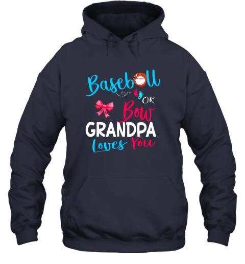 nndr mens baseball or bow grandpa loves you gender reveal team gift hoodie 23 front navy