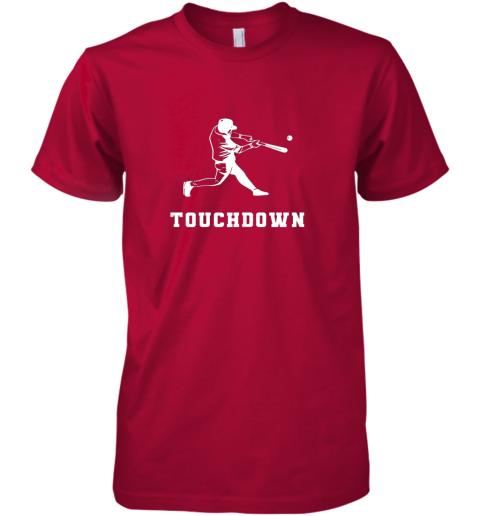 ul9u touchdown baseball shirtfunny sarcastic novelty premium guys tee 5 front red