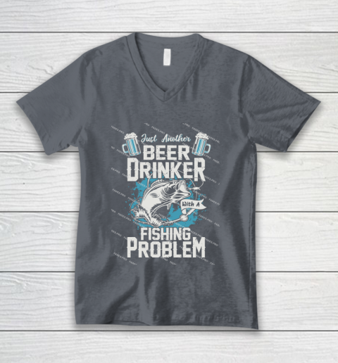 Beer Lover Funny Shirt Fishing ANd Beer V-Neck T-Shirt 4
